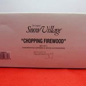 "Lot # 15  Dept 56 accessory ""Chopping Firewood"""