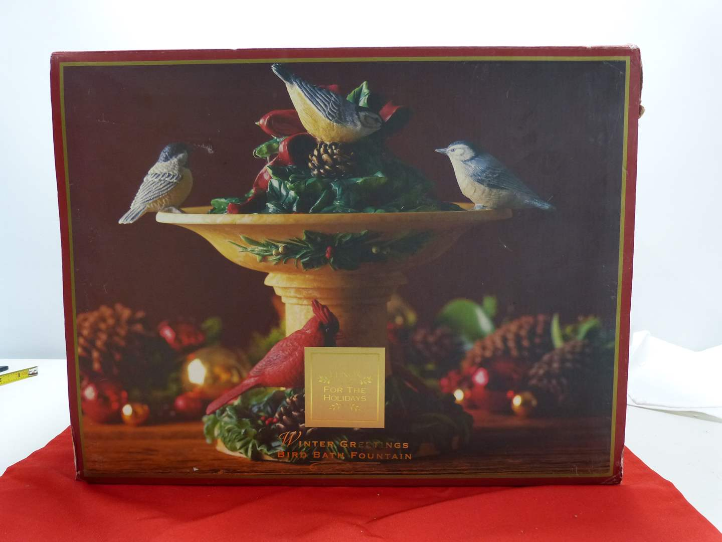 """Lot # 24  LARGE LENOX """"Winter Greetings"""" holiday bird bath (complete & excellent condition) (main image)"""