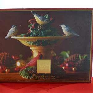 """Lot # 24  LARGE LENOX """"Winter Greetings"""" holiday bird bath (complete & excellent condition)"""