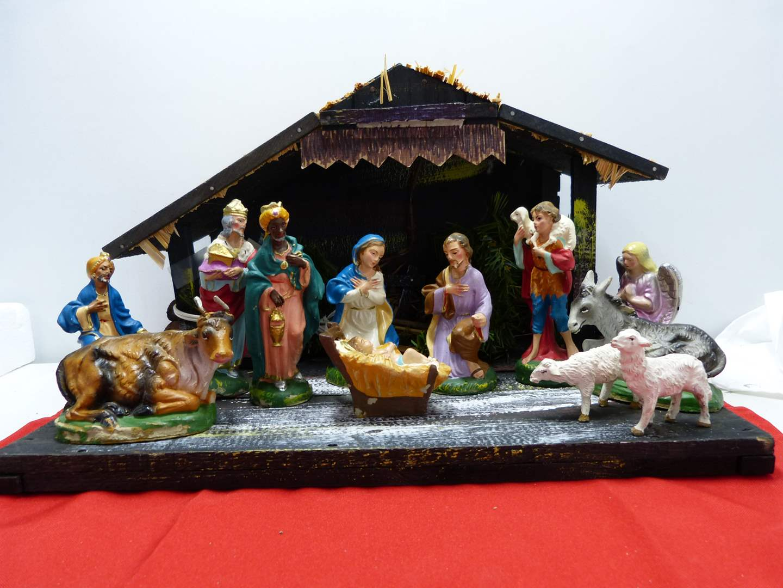 Lot # 25  FANTASTIC vintage Nativity Scene (main image)