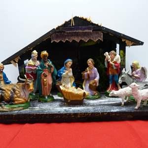 Lot # 25  FANTASTIC vintage Nativity Scene