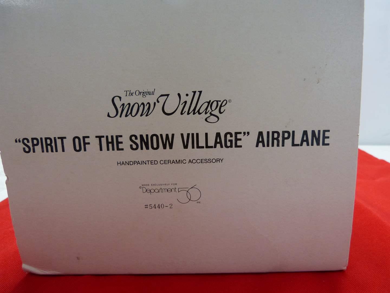 """Lot # 36  Dept 56 Snow Village """"Spirit of the Snow Village"""" Airplane"""