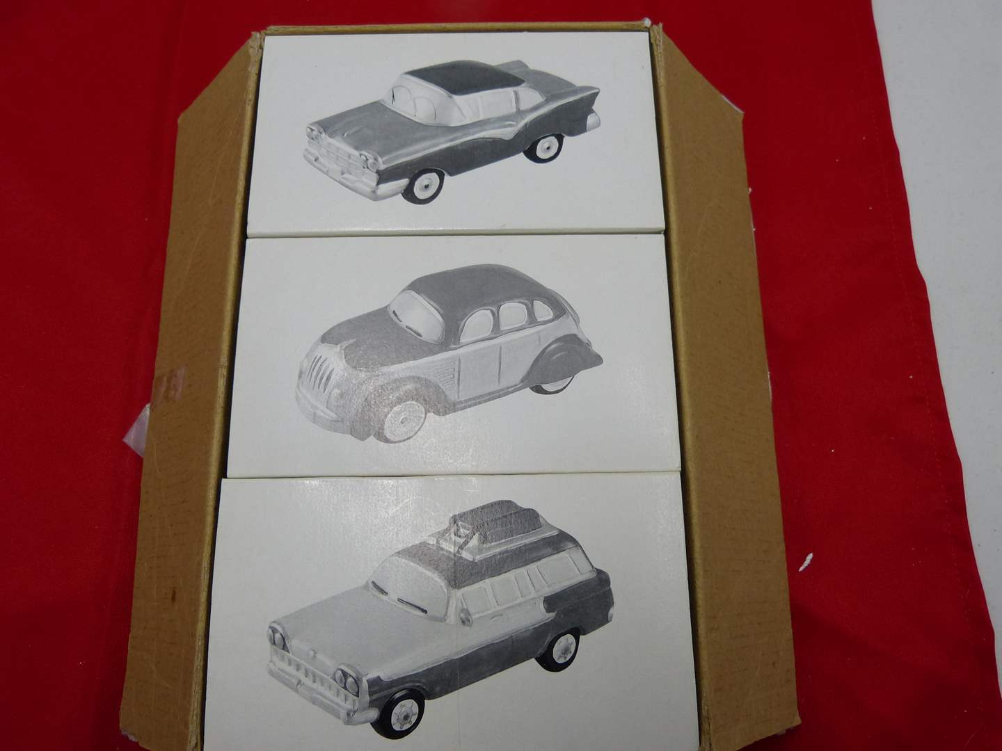 Lot # 38  Dept 56 Snow Village 3 classic cars NEW in the boxes (main image)
