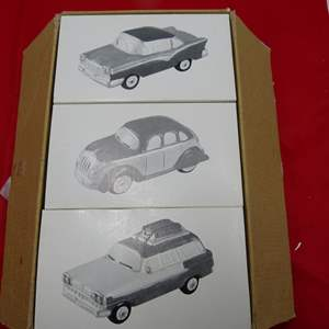 Lot # 38  Dept 56 Snow Village 3 classic cars NEW in the boxes
