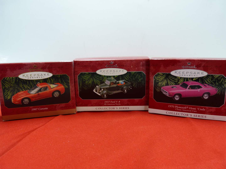 Lot # 68  3 Hallmark Keepsake car ornaments in boxes (main image)