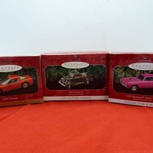 Lot # 68  3 Hallmark Keepsake car ornaments in boxes