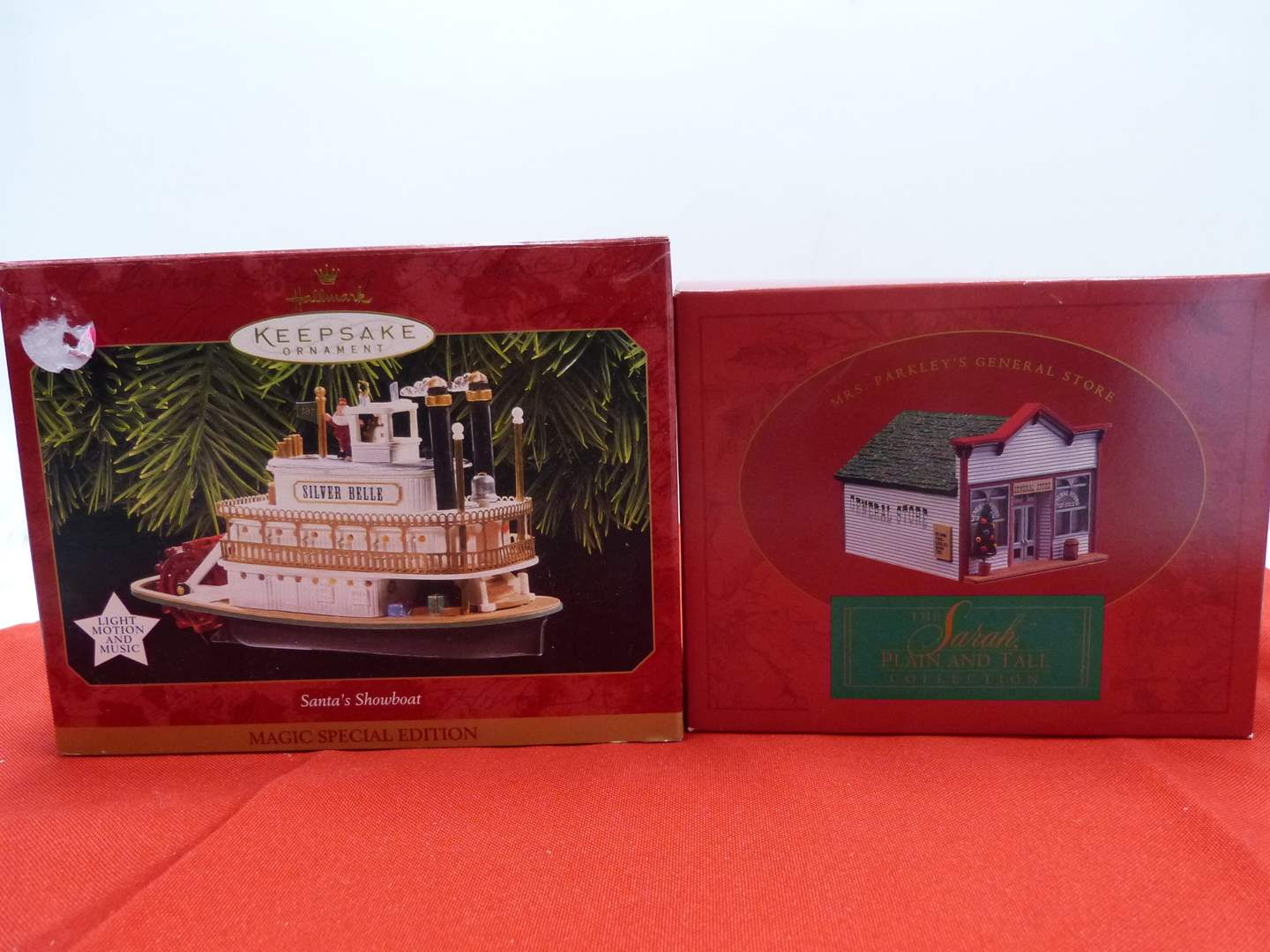 """Lot # 69  Sara, Plain & tall house and GREAT Hallmark """"Silver Belle"""" plug in ornament (main image)"""