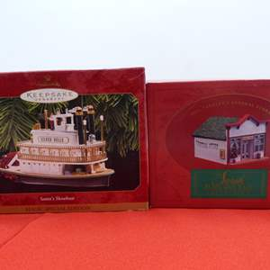 """Lot # 69  Sara, Plain & tall house and GREAT Hallmark """"Silver Belle"""" plug in ornament"""