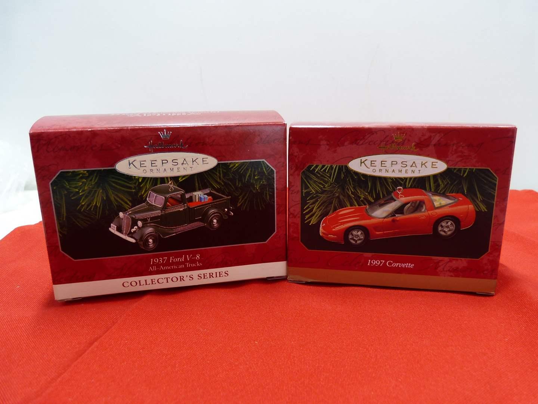 Lot # 70  2 Hallmark Keepsake car ornaments in boxes (main image)