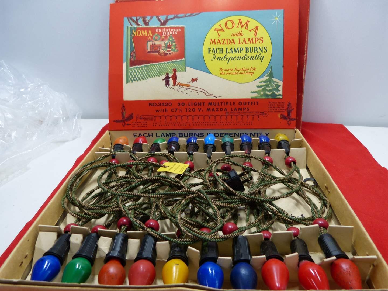 Lot # 73  Vintage Christmas Mazda Lights (with cloth wrap cord) (untested) (main image)