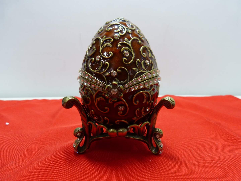 """Lot # 76  Heavy enamel & metal music box egg w/Christmas Tree (plays """"Oh Christmas Tree"""")"""