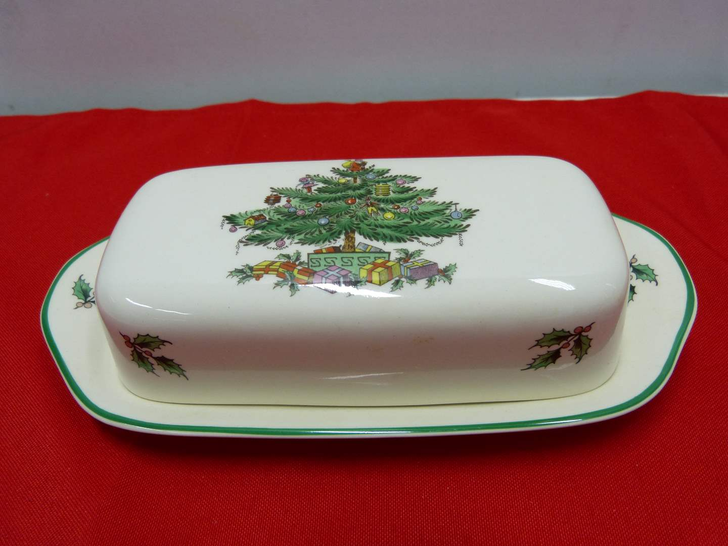 """Lot # 80  Spode """"Christmas Tree"""" Made in England 1/4 pound butter dish (main image)"""
