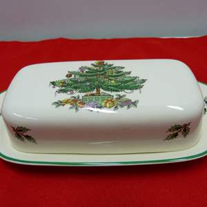 """Lot # 80  Spode """"Christmas Tree"""" Made in England 1/4 pound butter dish"""