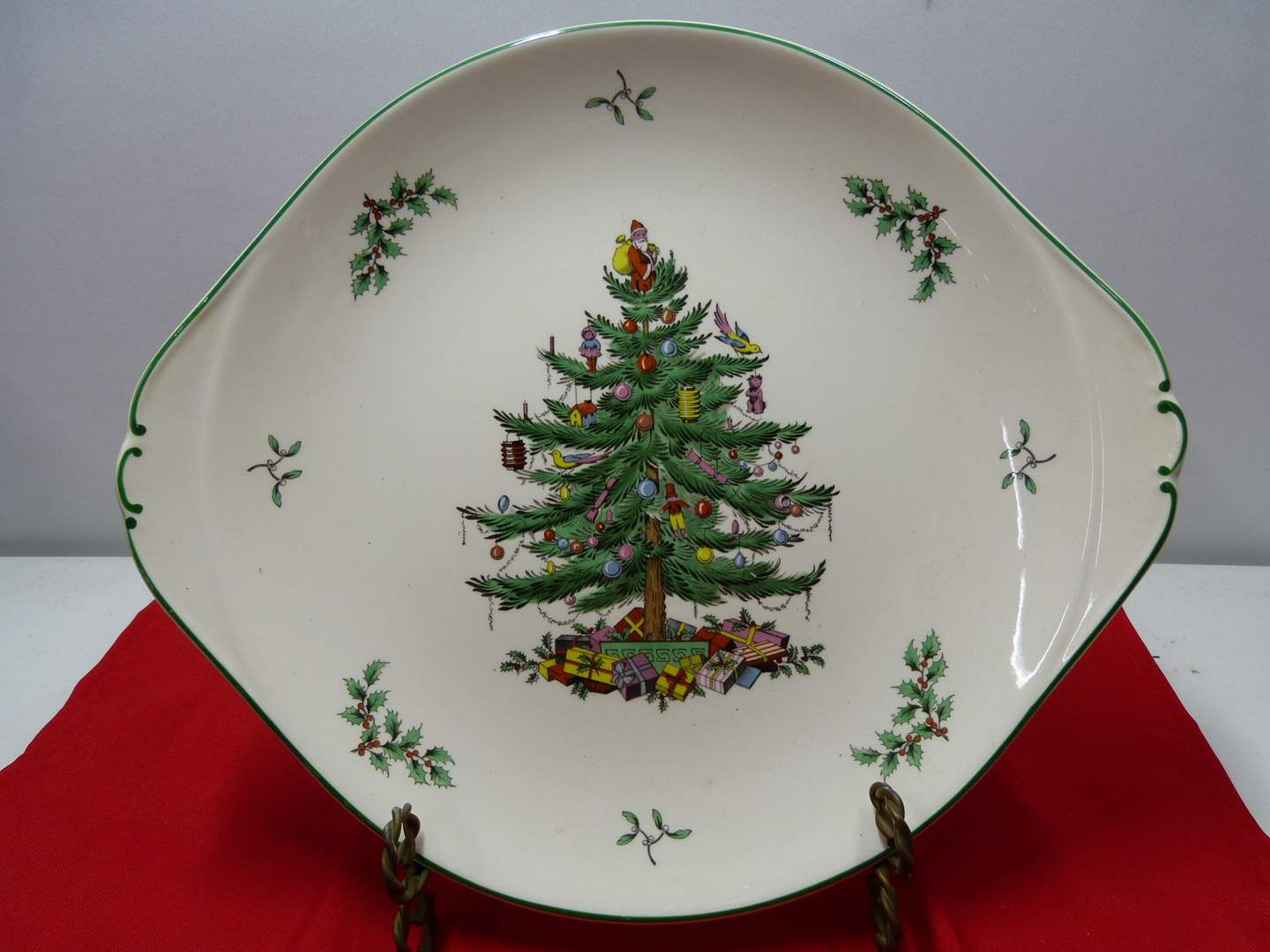 """Lot # 83  Great double handle Spode """"Christmas Tree"""" serving platter"""