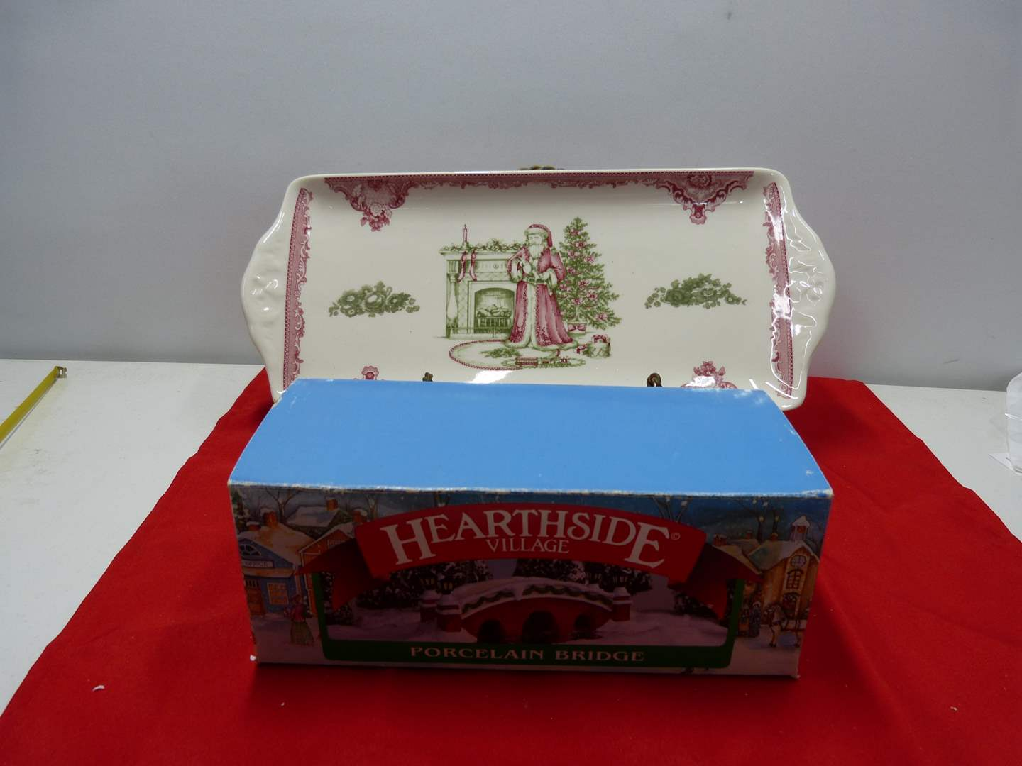 Lot # 89  2 Holiday collectibles to include relish tray by Johnson Bros (Made in England) (main image)