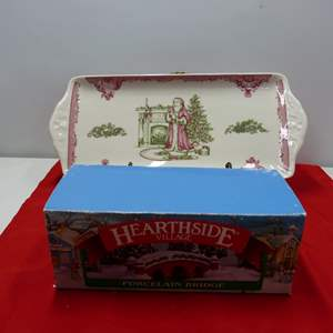 Lot # 89  2 Holiday collectibles to include relish tray by Johnson Bros (Made in England)