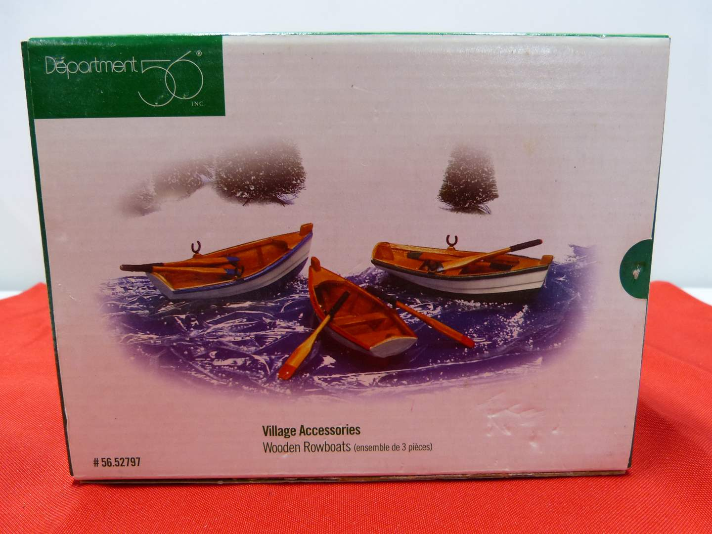Lot # 91  Great Dept 56 3 canoes accessories NEW in box (main image)
