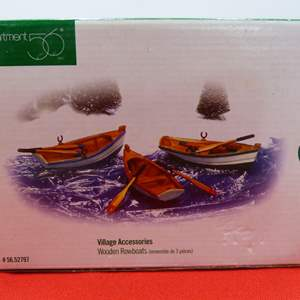 Lot # 91  Great Dept 56 3 canoes accessories NEW in box