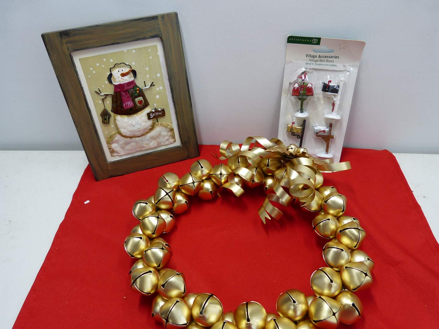 Lot # 112  Nice lot of Christmas decor to include Dept 56 mail boxes