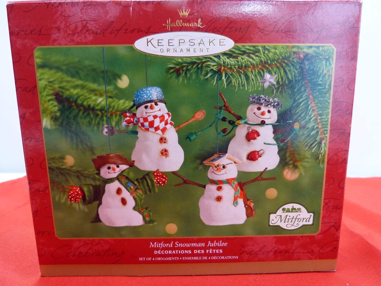 Lot # 115  Nice boxed lot Hallmark Kepesake snowman ornaments 2001 (main image)