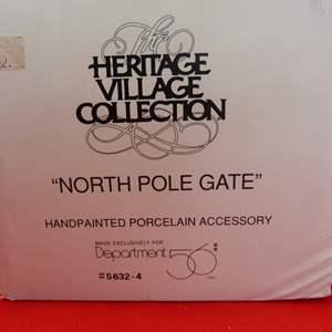 "Lot # 122  Dept 56 Heritage Village ""North Pole Gate"" accessory"