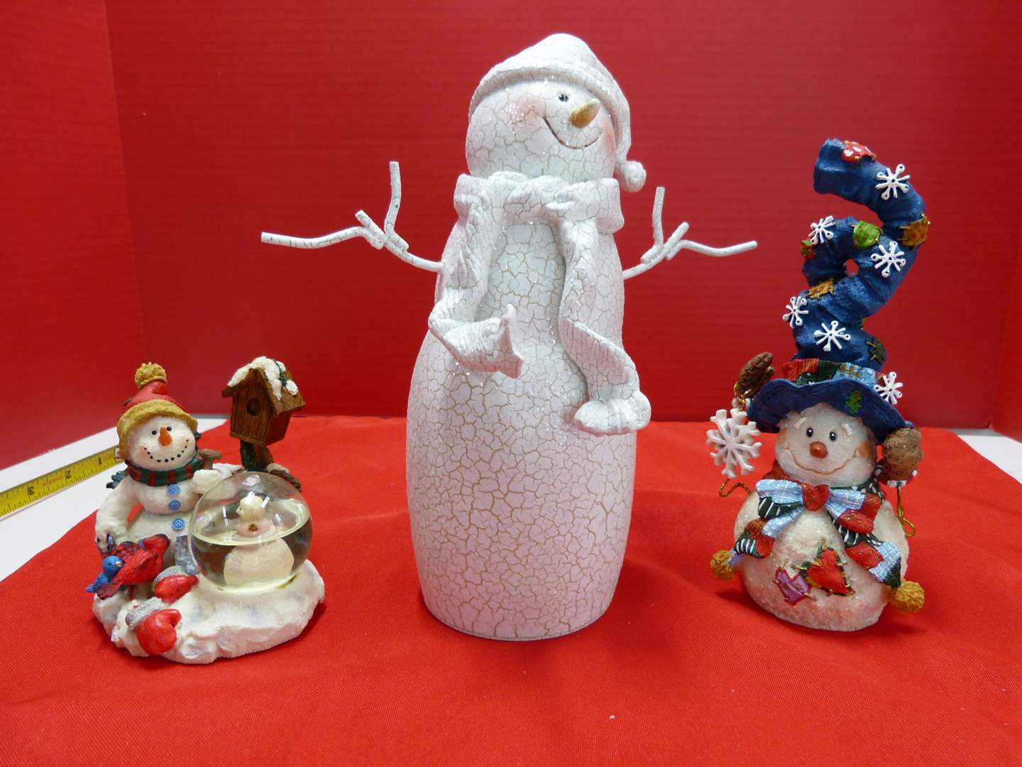 Lot # 127  3 Snowman collectibles to include a small snow globe (main image)