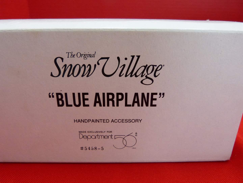 "Lot # 134  Dept 56 Snow Village ""Blue Airplane"" accessory  (main image)"