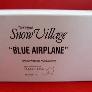 "Lot # 134  Dept 56 Snow Village ""Blue Airplane"" accessory"