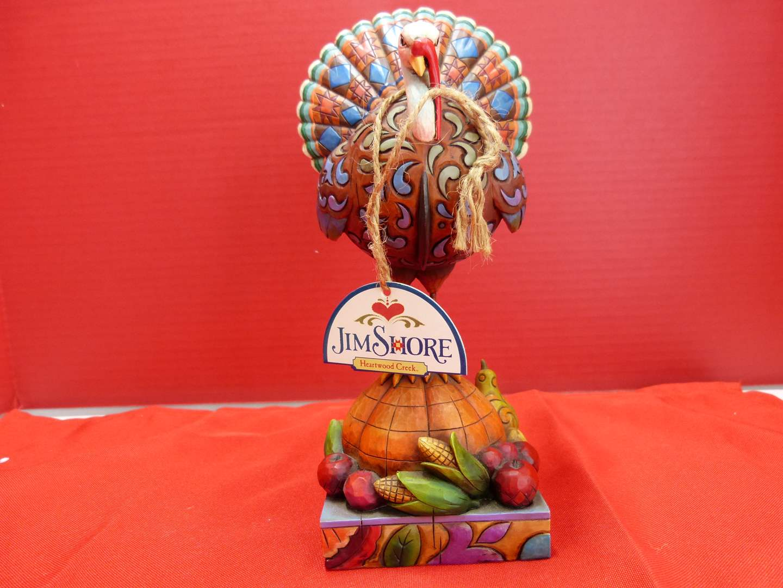 "Lot # 149  Jim Shore ""Tom a Plenty"" turkey on pumpkin (like new w/box) (main image)"