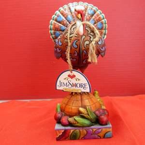 """Lot # 149  Jim Shore """"Tom a Plenty"""" turkey on pumpkin (like new w/box)"""
