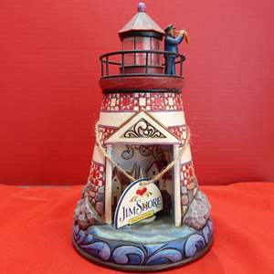 """Lot # 152  Jim Shore """"Summer Breezes"""" Lighthouse (lights up untested but guaranteed)"""