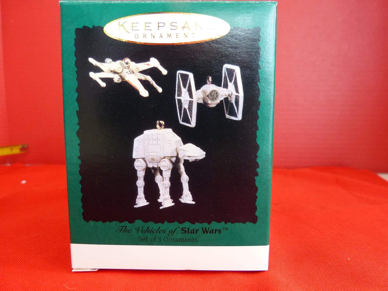 Lot # 158  Hallmark Keepsake STAR WARS 3 ornaments (these are miniatures) (main image)