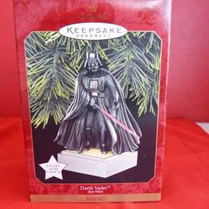 """Lot # 160  Hallmark Keepsake  Star Wars """"Darth Vader"""" ornament (new)"""
