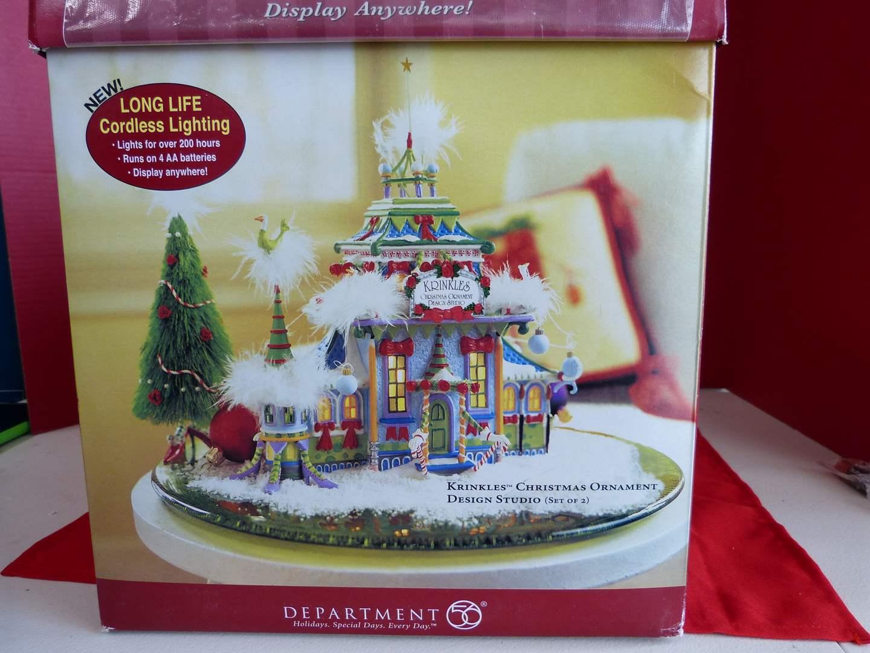 "Lot # 182  Dept 56 ""Krinkles Christmas Ornament Design Studio"" animated house (no light)"