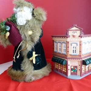 """Lot # 183  Dept 56 Snow Village """"Bakery"""" & Santa tree topper"""
