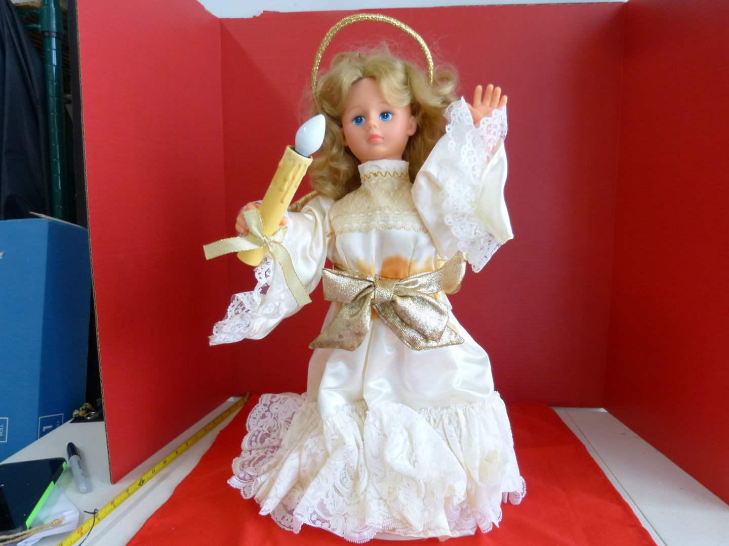 Lot # 195  Victorian Style light up doll (shows water damage) (main image)