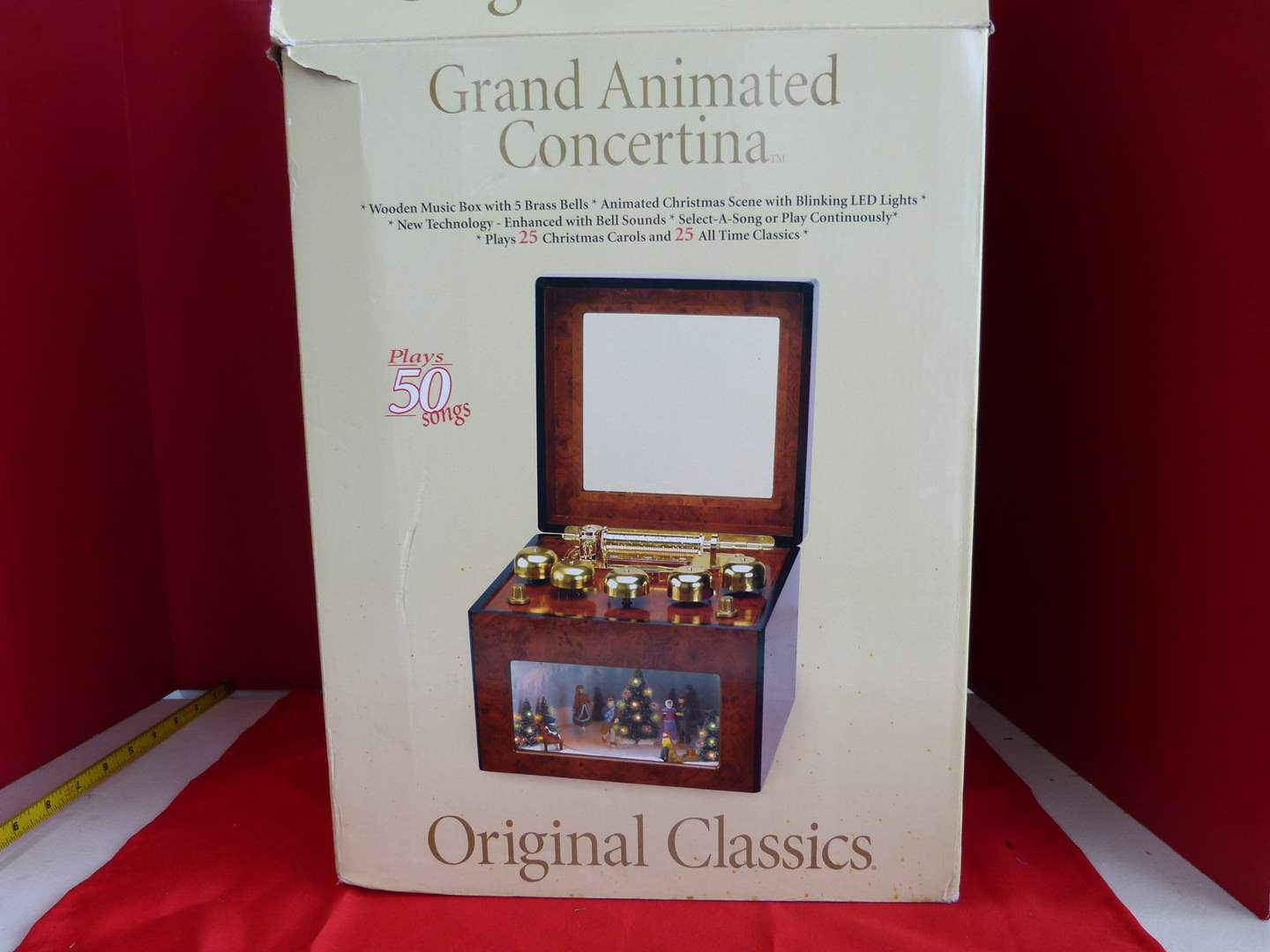 Lot # 199  Great Grand Animated Concertina Holiday music Player play 50 songs (I do not have the power cord) (main image)