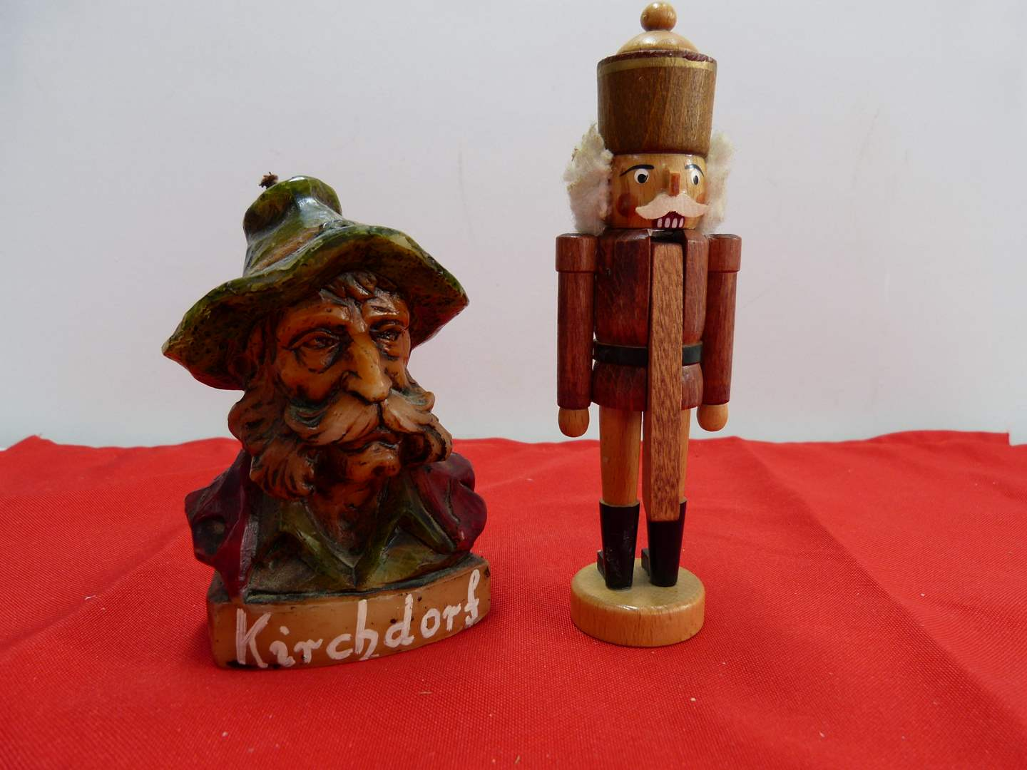 Lot # 210  Interest man head candle & Miniature Made in Germany nutcracker (main image)