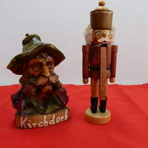 Lot # 210  Interest man head candle & Miniature Made in Germany nutcracker