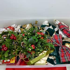 Lot # 216  Nice lot of Christmas wreaths & ribbons