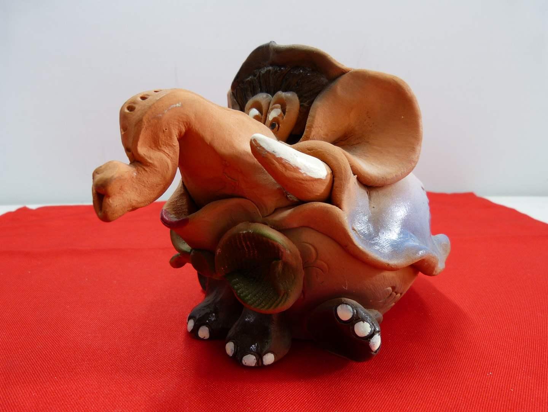 Lot # 217  Interesting Terracotta elephant bank  (main image)