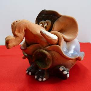 Lot # 217  Interesting Terracotta elephant bank