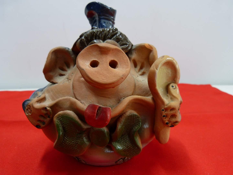 Lot # 219  Interesting Terracotta pig bank (has small chip) (main image)