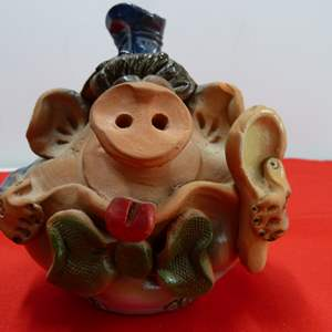 Lot # 219  Interesting Terracotta pig bank (has small chip)