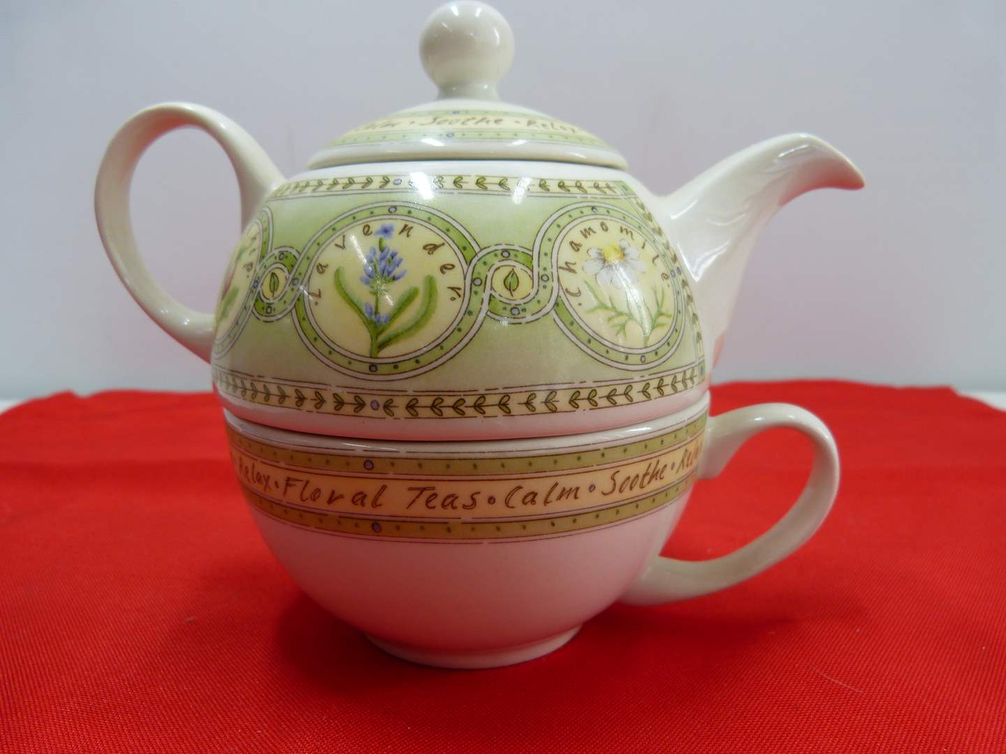 Lot # 226  Great Arthur Wood single teapot with stacking cup Made in England (main image)