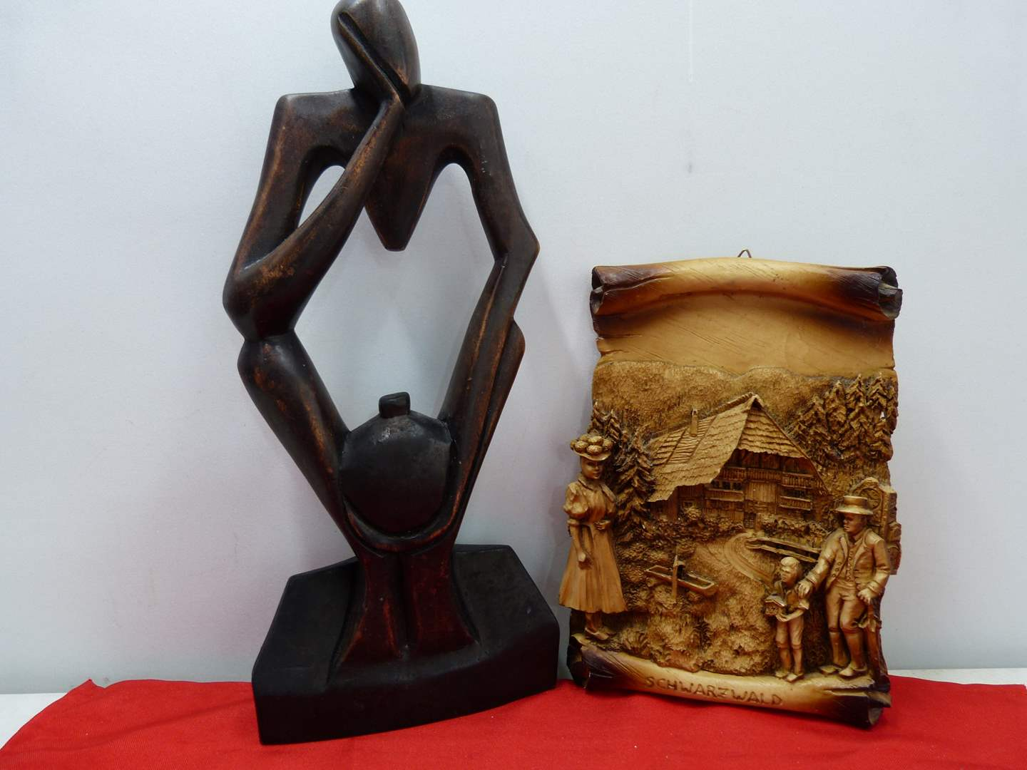 Lot # 230  Interesting carved wood African wood form & Made in Germany wall plaque
