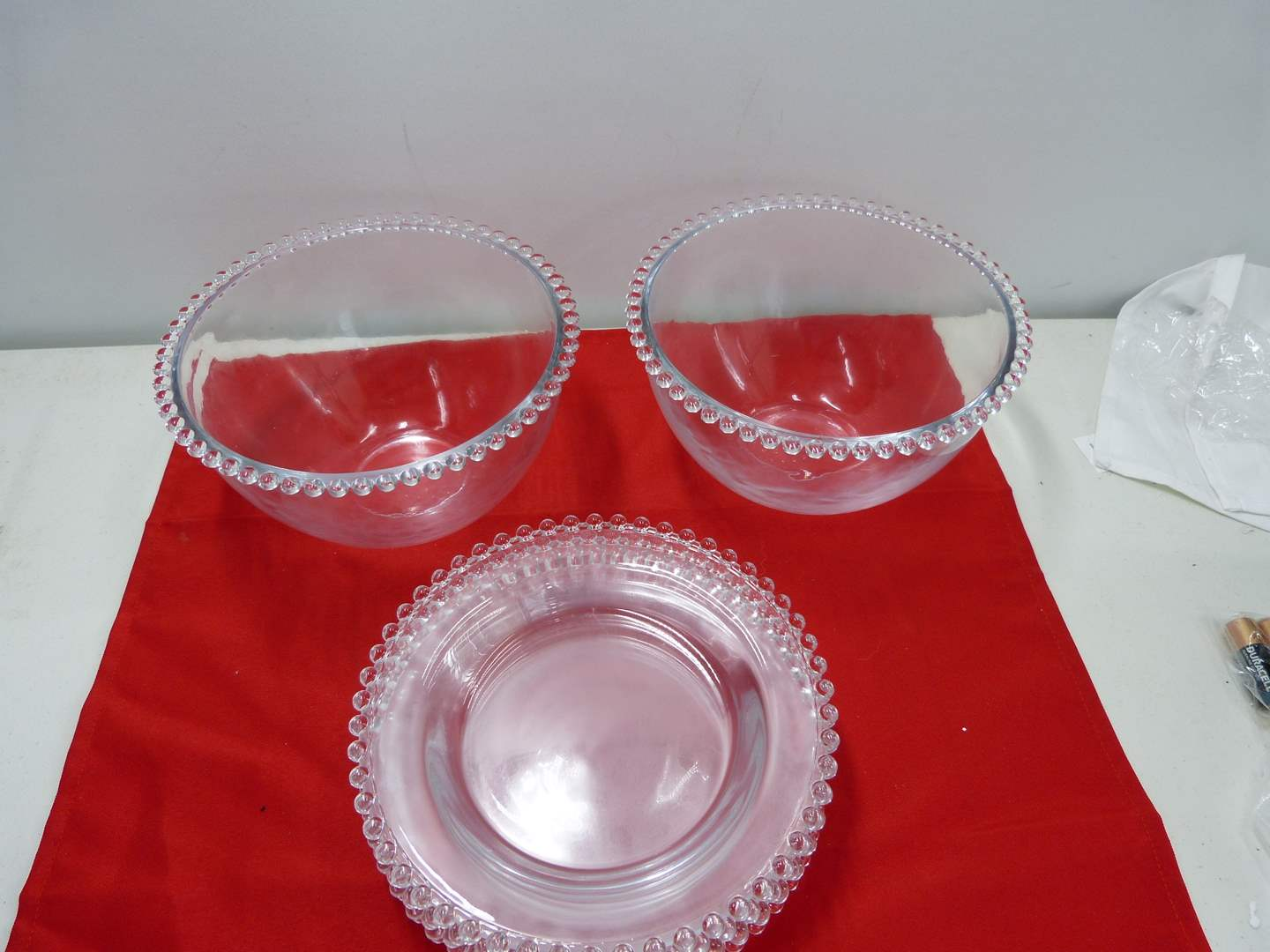 Lot # 233  Nice lot of clear crystal Candlewick 4 Plates & 2 large mixing bowls (main image)