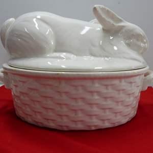 Lot # 236  Large basket weave oval rabbit covered casserole