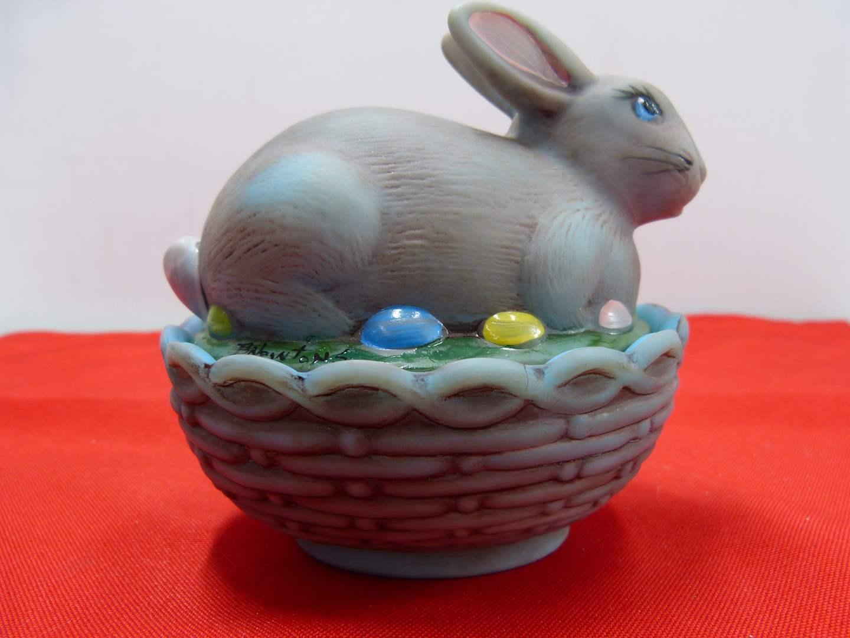 Lot # 237  Covered basket weave hand painted Fenton? rabbit basket (main image)