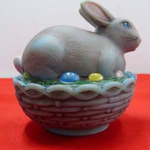 Lot # 237  Covered basket weave hand painted Fenton? rabbit basket